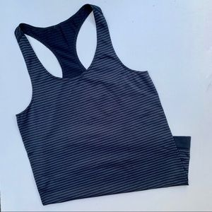 Under Armour Navy Racerback Stripped seamless tank